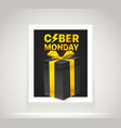 bright frame on the wall the cyber monday label vector image vector image