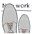 Business concept a new job Feet in shoes on the vector image vector image