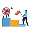 businessman with flag climb chart target vector image