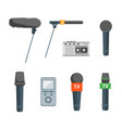 cartoon microphone set press conference element vector image