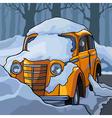 cartoon yellow retro car in the snow vector image vector image