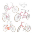 colorful hand drawn bicycles set vector image vector image