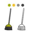coloring book broom vector image vector image