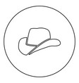 cowboy hat icon black color in circle vector image
