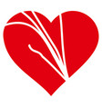 damaged love heart icon vector image vector image