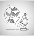 dna molecule with microsocpe vector image vector image