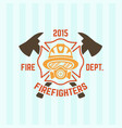 firefighter in a gas mask fire department emblem vector image