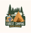 forest camping extreme adventure vector image vector image