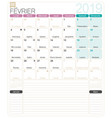 french calendar - february 2019 vector image