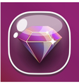 Glass button diamond for game interface vector image