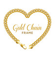 gold chain heart love border frame wreath shape vector image vector image