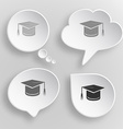 Graduation cap White flat buttons on gray vector image