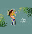 happy birthday isolated cute smiling girl on a vector image vector image
