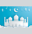 happy eid mubarak greeting card with crescent vector image vector image