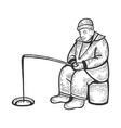 ice fishing man sketch vector image