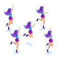isometrics of the girlfriends jumps has fun rejo vector image vector image
