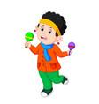 kids dancing musical instruments maracas vector image vector image