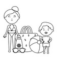 little boy with mother and accessories vector image vector image