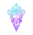 lord ganesha head with lotus drawing - indian vector image