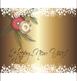 New year card with shiny balls and snow decoration vector image vector image