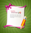 paper card and pencil of the happy easter eggs vector image vector image