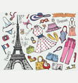 Paris france fashion summer vacation setwoman vector image