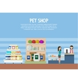 Pet store or shop interior with woman shopping vector image