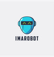 robot head logo icon template on white background vector image