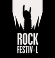 rock hand sign silhouette and words rock festival vector image