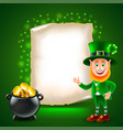 saint patrick day green realistic background vector image