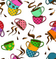 Seamless pattern of teacups vector image vector image