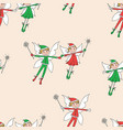 seamless pattern of the flying cheerful elves vector image vector image