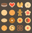set of assorted cookies in flat design icon vector image