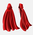 set of red cloaks flowing silk fabrics vector image