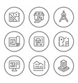 set round line icons of architectural vector image vector image