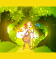 shepherdess in front forest vector image vector image