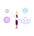 thoughtful business woman with glowing light bulb vector image