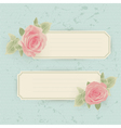 Vintage card with roses and border vector image vector image