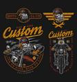 vintage colorful motorcycle prints vector image vector image