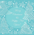white christmas fir trees and toys on blue vector image
