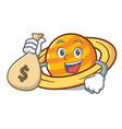 with money bag planet saturnus character cartoon vector image