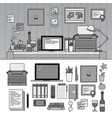 writer or journalist work space on white line vector image