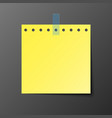 yellow post note paper with shadow vector image vector image