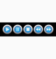 blue metal button with music control buttons vector image