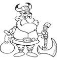 Cartoon Viking holding an axe vector image