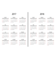 2017 year and 2018 calendar page Simple vector image vector image
