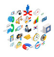 big business icons set isometric style vector image vector image