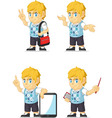 Blonde Rich Boy Customizable Mascot 10 vector image vector image