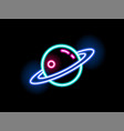 bright neon light saturn shape flat vector image vector image