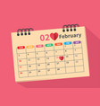 calendar for the month of love vector image vector image